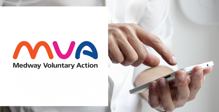 A man tapping his phone screen. Alongside the image is the Medway Voluntary Action logo.