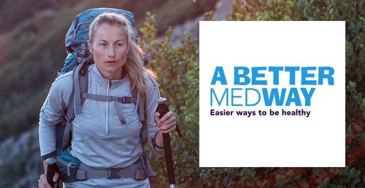 A woman Nordic walking. Along side the image is the 'A Better Medway' logo.