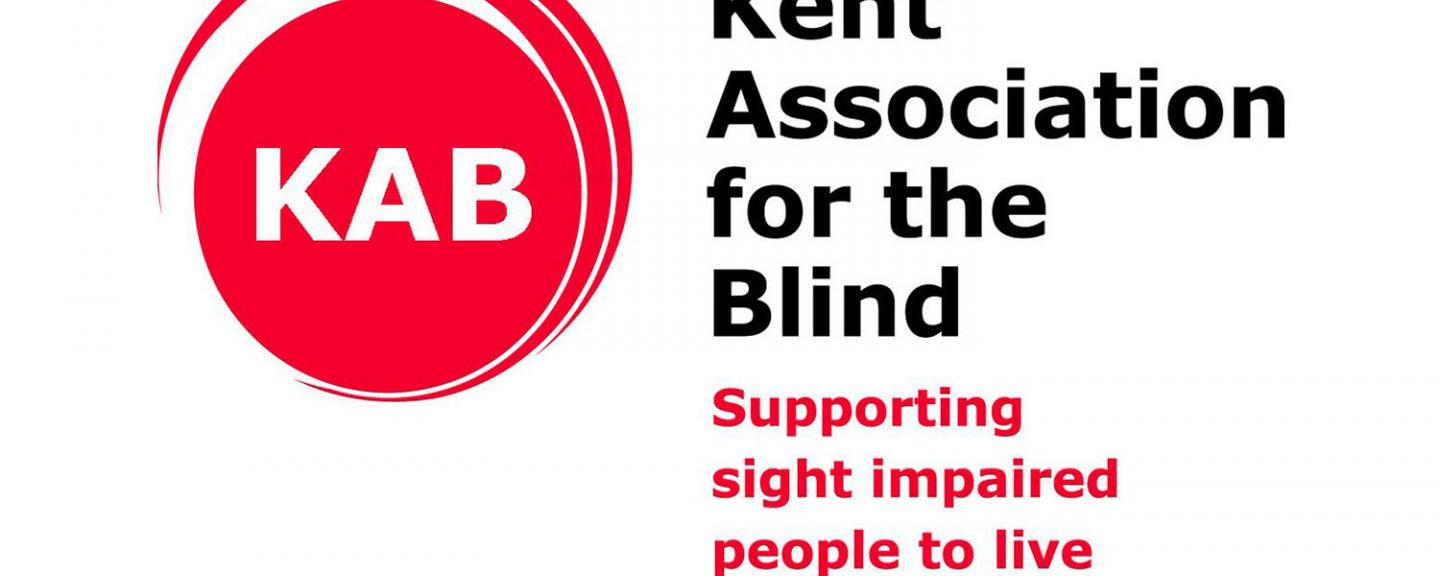 Kent association for the blind logo with their slogan