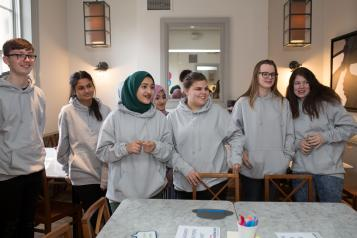 Student volunteers in a group