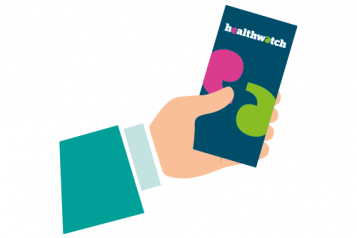 A graphic of a hand holding a Healthwatch leaflet