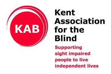 "Kent association for the blind logo with their slogan ""supporting sight impaired people to live independent lives""."