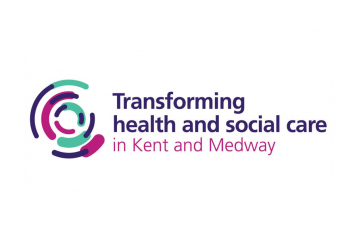 """Image says """"Transforming health and social care in Kent and Medway""""."""