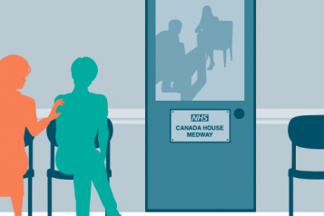 front cover for the report, showing two people sitting outside of door in the community mental health clinic