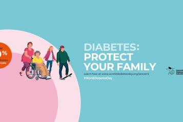 "World Diabetes Day poster. The image says, ""Diabetes: protect your family. Over 50% of type 2 diabetes is preventable."