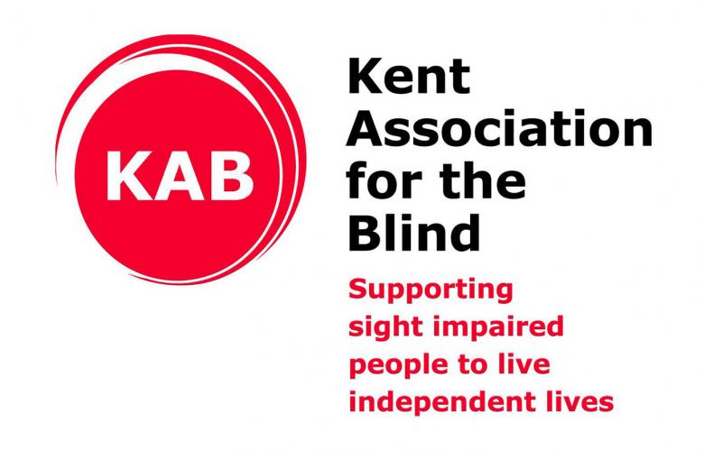 """Kent association for the blind logo with their slogan """"supporting sight impaired people to live independent lives""""."""
