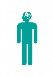 Icon of a person with cogs turning in their head.