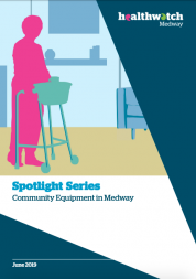 Report cover of the Spotlight on Community Equipment services. The cover is an illustration of a woman using a walking aid around the house.