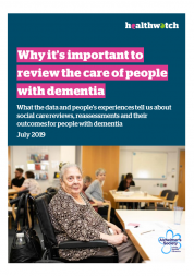 "Front cover of the Dementia report. The cover has a an image of a woman in a care centre. The Text says ""Why it's important to review the care of people with dementia""."