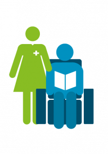 Icon of a nurse checking on a person sitting in a chair reading a book