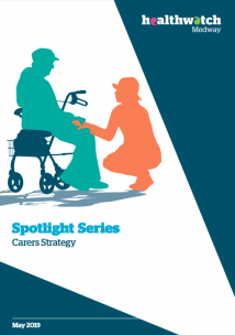 Front over of the carers report showing a woman kneeling along side the person she is caring for, showing support with a hand on their knee