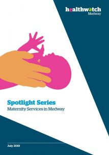 Front cover of the maternity report. The illustration is of two hands supporting a new born baby. The text reads